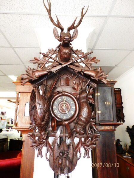 58 Inch case Top Rarity 1880 - 1900 Cuckoo Clock 3 Weights  music box 3 melodies