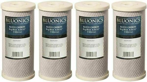 Bluonics 4 PK Carbon Block 10 x 4.5quot; Whole House Charcoal Water Filters 5 Micron $67.00