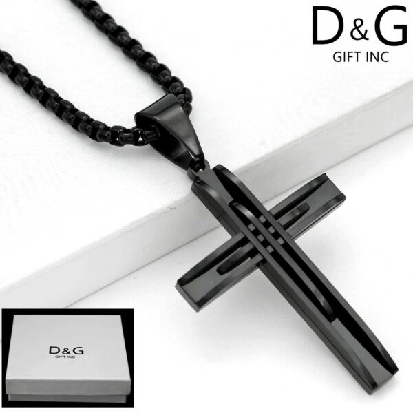 DG Men#x27;s 24quot; Black.Stainless Steel.Box Chain Necklace.CROSS 75mm Pendant BOX