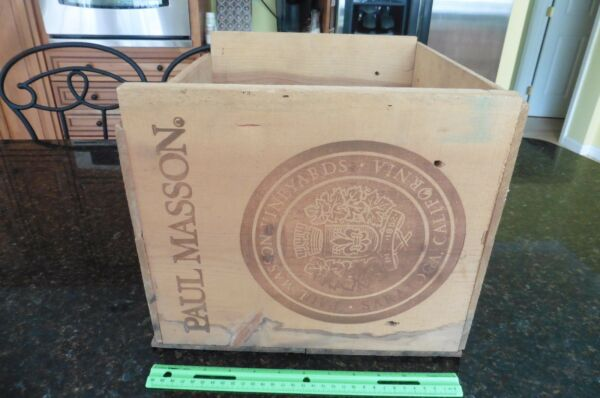 Paul Masson Crate Vintage wood wooden box Vineyard wine saratoga California 1852