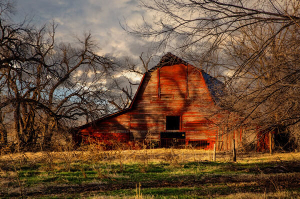 Photography Print - Photo of Rustic Red Barn on Autumn Day in Oklahoma