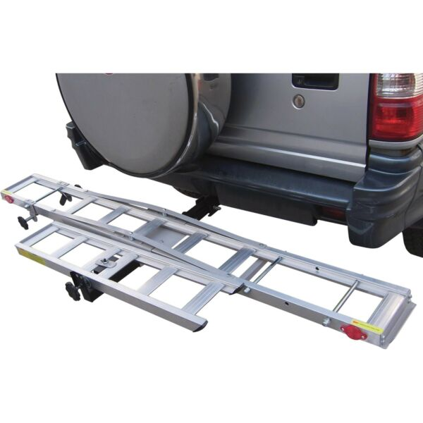 Hitch Receiver Mounted Aluminum Motorcycle Dirt Bike Carrier Trailer Rack w Ramp $145.99