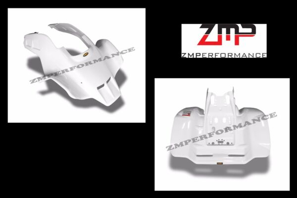 NEW HONDA TRX250R PLASTIC WHITE VENTED RACE FRONT AND REAR FENDER SET TRX 250R