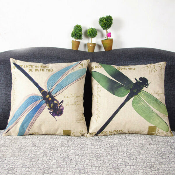 HomeTextiles Art Cotton Linen Vintage Home Decor Outdoor Cushion Cover Dragonfly $10.69