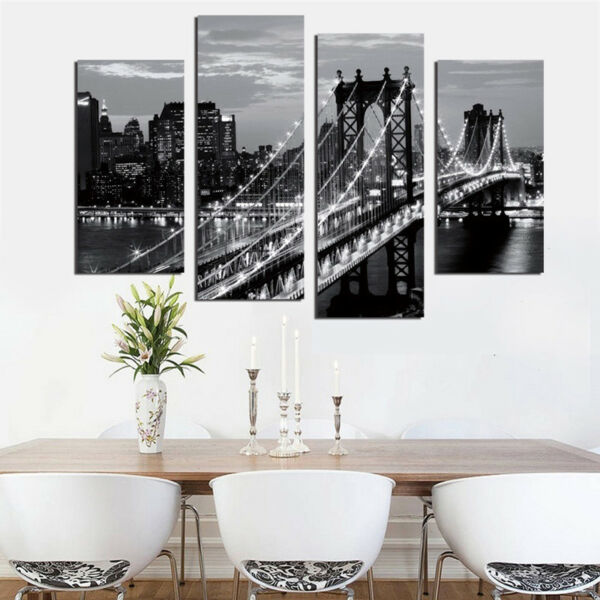 Fashion Art 4Pcs New York Bridge Room Wall Canvas Decor Print Oil Painting Gifts