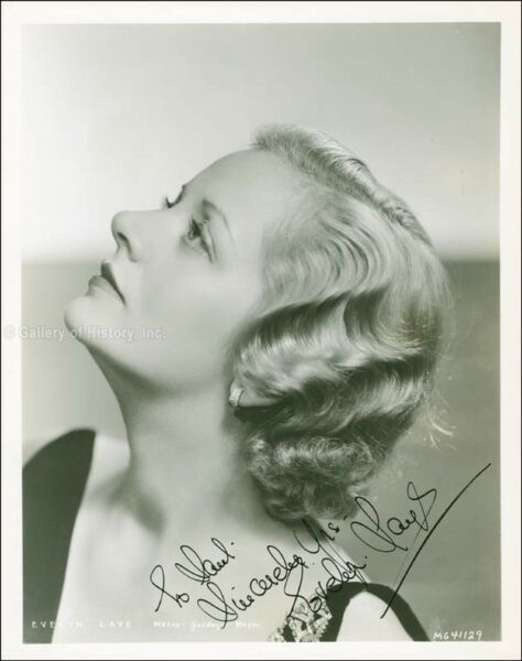 EVELYN LAYE - INSCRIBED PHOTOGRAPH SIGNED CIRCA 1935
