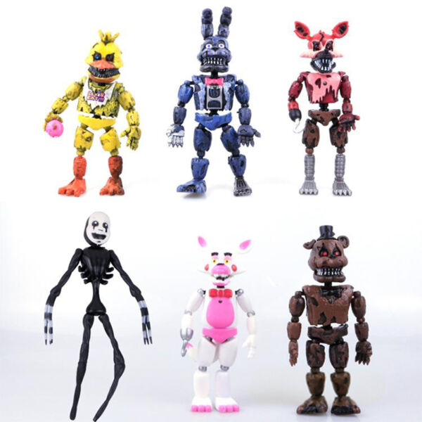 6Pcs FNAF Five Nights at Freddy's Action Figures With LED Lights Toy Kids Gift