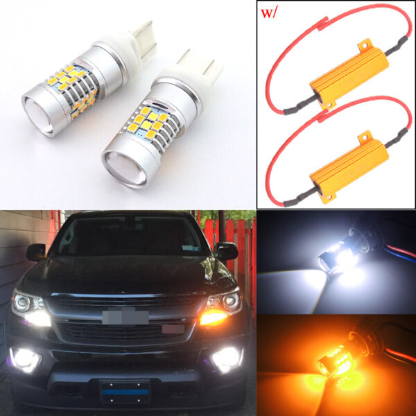 2 Switchback LED Bulbs for 2015 2019 Chevrolet Colorado Front Turn Signal Lights