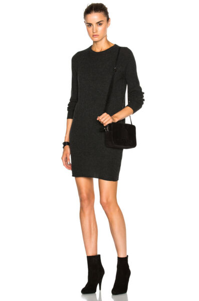 EQUIPMENT WILLY MINI DRESS IN CHARCOAL HEATHER GREY SMALL