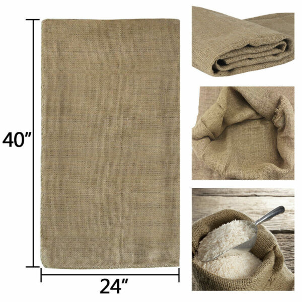 6pcs Reusable Jute Burlap Sacks Gunny Bag Cereals Potato Race Sand Bags 40quot;×24quot;