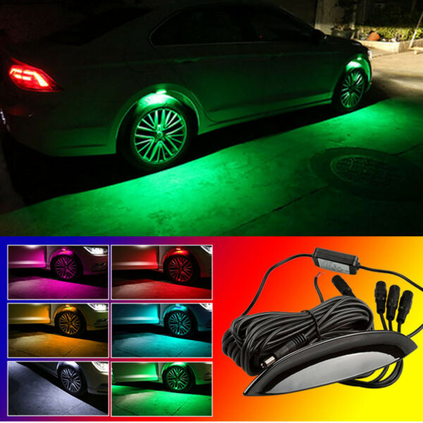 4x Green LED Car Wheel-Well Neon Glow Lights Fender Lamp Strobe Breathing 3 Mode
