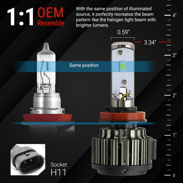 2018 All in One H11 80W 10000LM CREE-XHP50 LED Headlight Kit Light Bulbs White