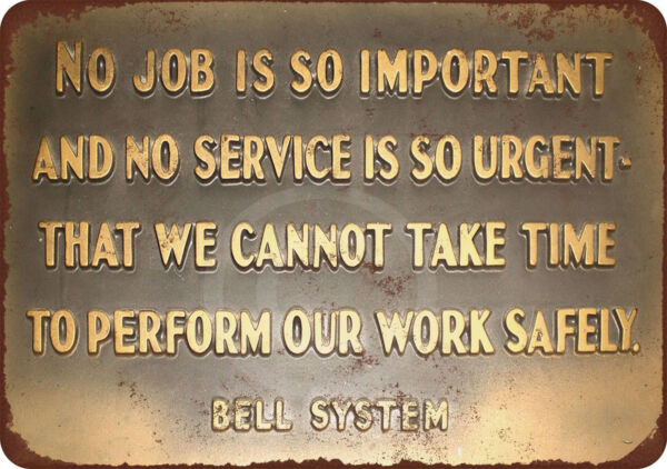 Bell System Safety Message Reproduction Metal Sign 8 x 12