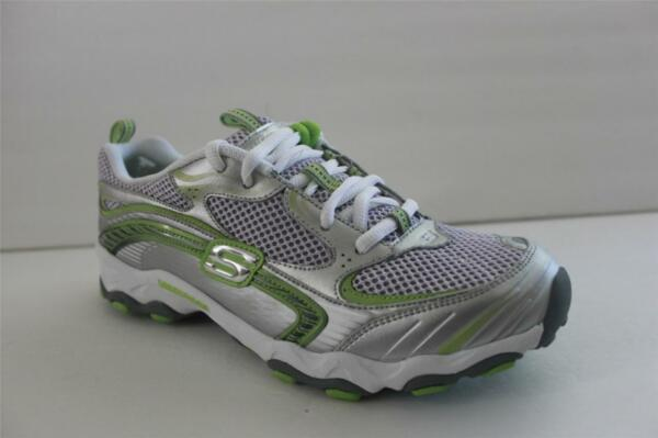 Womens Skechers Ampd Unbeatable Silver Green Mesh Athletic Sneaker Size 7.5 M