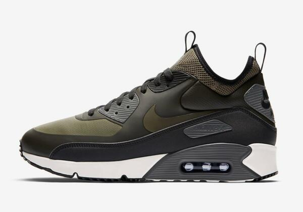 NIKE AIR MAX 90 ULTRA MID WINTER 924458 300 SEQUOIA/OLIVE GREEN/BLACK/WHITE/GREY