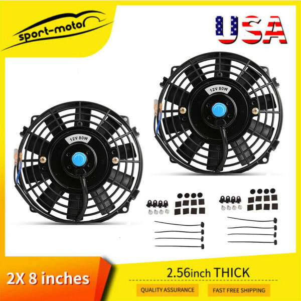 Dual 8inch Reversible Electric Radiator Cooling Fans Push Pull for Toyota Avalon