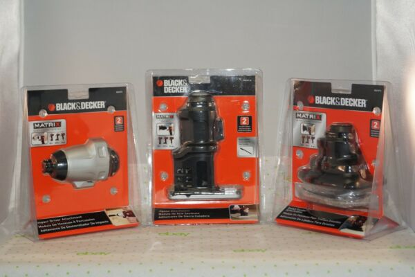 NEW 3 pc Attachment Set - Black & Decker MATRIX Impact Driver - Jigsaw - Sander