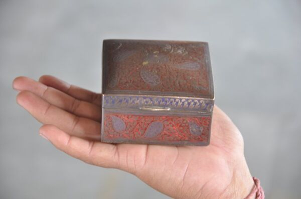Old Brass Handcrafted Red & Blue Lacquer Work Engraved Jewellery Box
