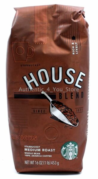 NEW Starbucks Caffe HOUSE BLEND Whole Bean Coffee 1lb (16oz) 453g Bag - Medium