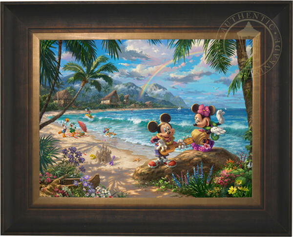 Thomas Kinkade Studios Mickey and Minnie in Hawaii 18 x 24 LE EE Canvas