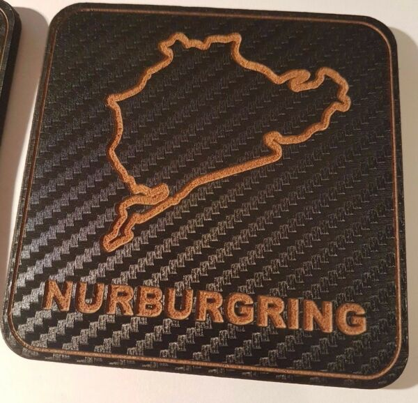 2 Carbon amp; wood motor racing circuit track map coasters. Pick your own GBP 9.00