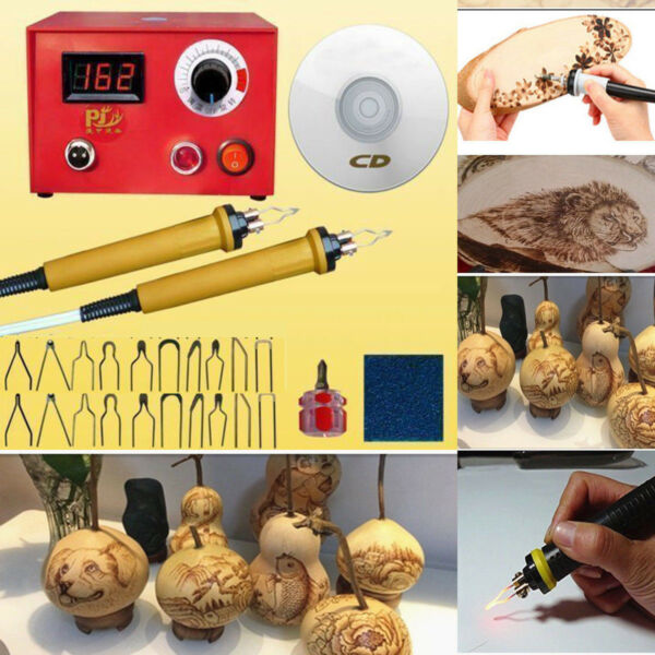 Multifunction Crafts Wood Burning Tool Gourd Machine Set+2 Pyrography Pen Kit