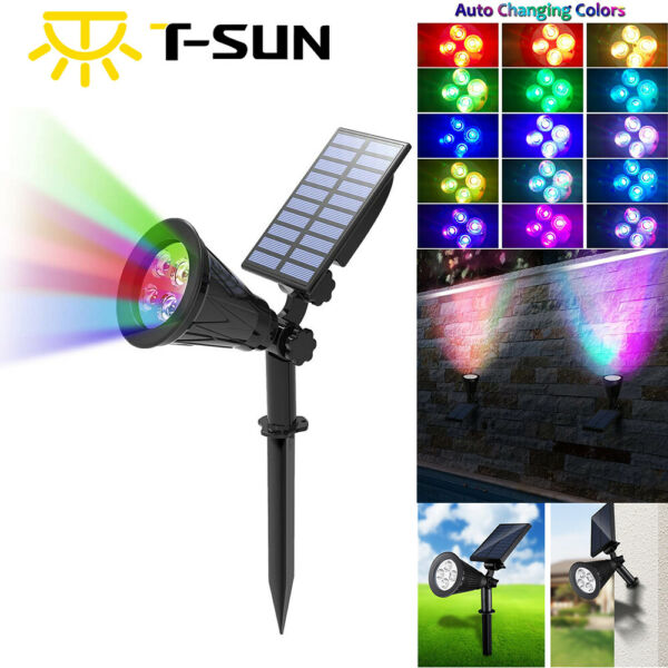 Outdoor Garden LED Solar Landscape Spotlight Wall Light Path Lights Color Change