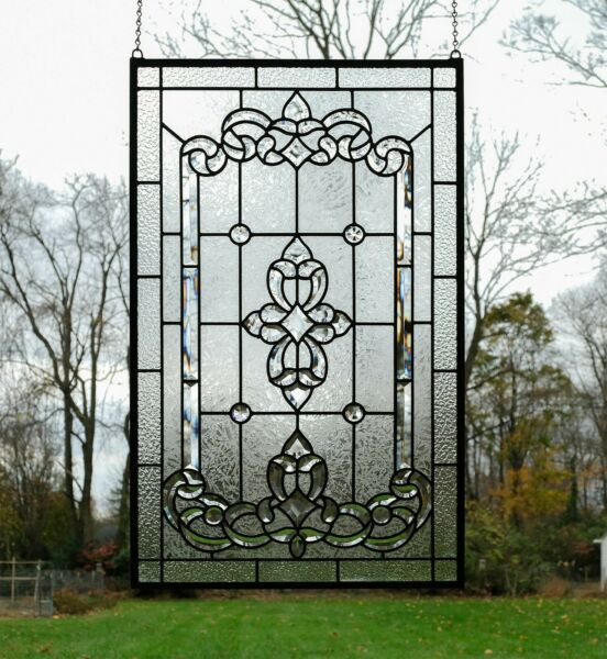 Stunning Handcrafted All Clear stained glass Beveled window panel 20quot; x 34.25quot;