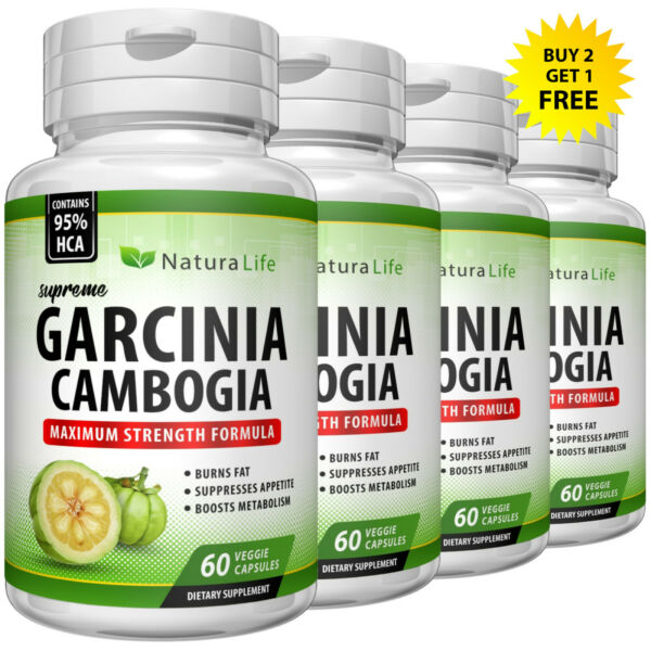 100% PURE GARCINIA CAMBOGIA EXTRACT 95% HCA Weight Loss Diet Pills 3000mg Daily
