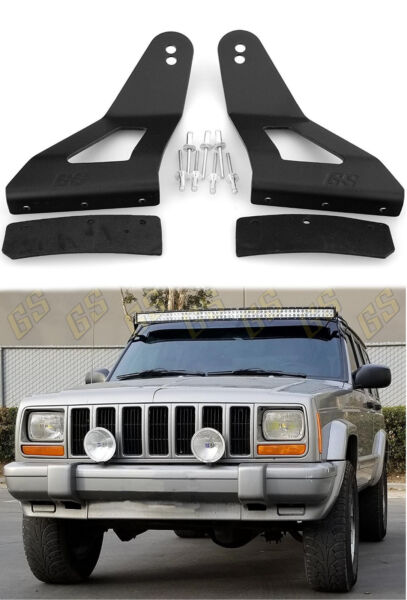 LED Light Bar Mounting Brackets 52quot; amp; 50quot; Curved for Jeep Cherokee XJ 1984 2001