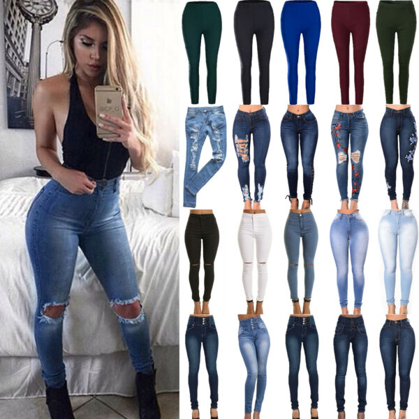 Womens Stretch Skinny Denim Jeans Slim Jeggings High Waist Pencil Pants Trousers