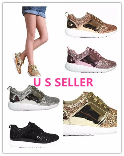 Link Twinkle Women & Kids Sneaker-Lightweight Glitter Quilted Lace Up Shoes