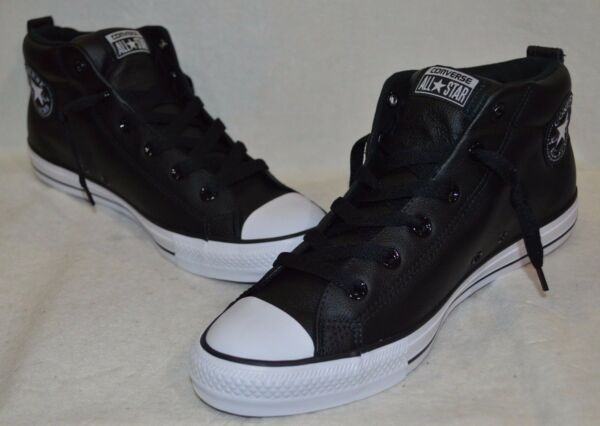Converse Men's All Star CT Street Mid-Top Black/White Leather Sneakers-Asst Size