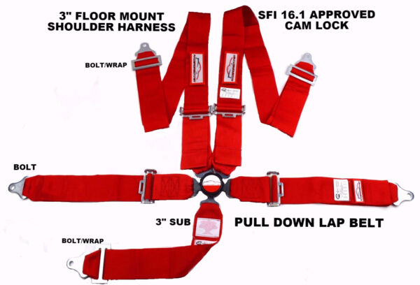RED SAFETY HARNESS SFI 16.1 RACING 5 POINT SEAT BELT FLOOR MOUNT 3