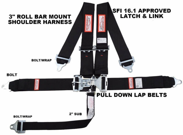 BLACK SAFETY HARNESS 5 POINT SFI 16.1 RACING LATCH & LINK 3
