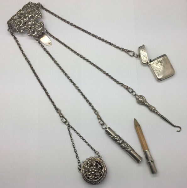 Antique sterling silver Chatelaine pin cushionpencilbutton hookmatch box. WOW