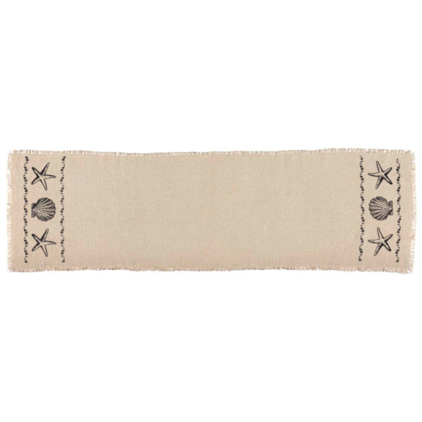 SANDY Creme BURLAP RUNNER 13X48 COUNTRY Coastal Beach Shell RUSTIC DECOR