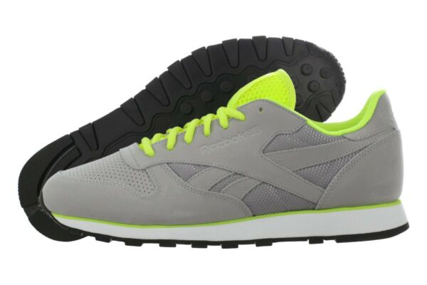 Reebok Mens Classic Leather CL Tech Casual Fashion Sneaker Grey Yellow ALL SIZES