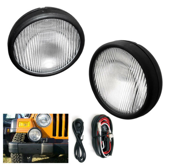 FOR 1997-2006 WRANGLER BUMPER DRIVING FOG LIGHTS LAMPS CHROME WSWITCH+HARNESS