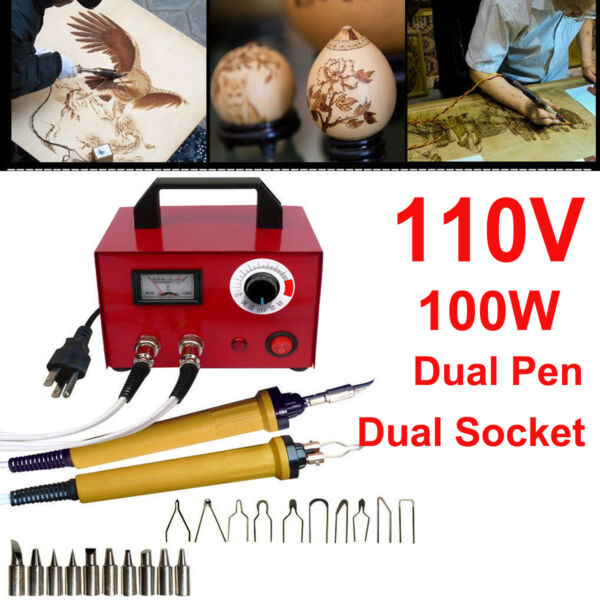 100W Multifunction Pyrography 2 Socket+Pen Wood Burning Machine Tool Set 20 Kits