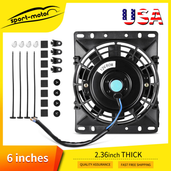 6-8'' inch Electric Radiator Cooling Slim Fan Flush Mount Push Pull Assembly 12V