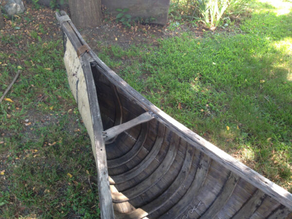 1890's Traditional Indian made American Birch bark canoe St. Lawrence Watertown