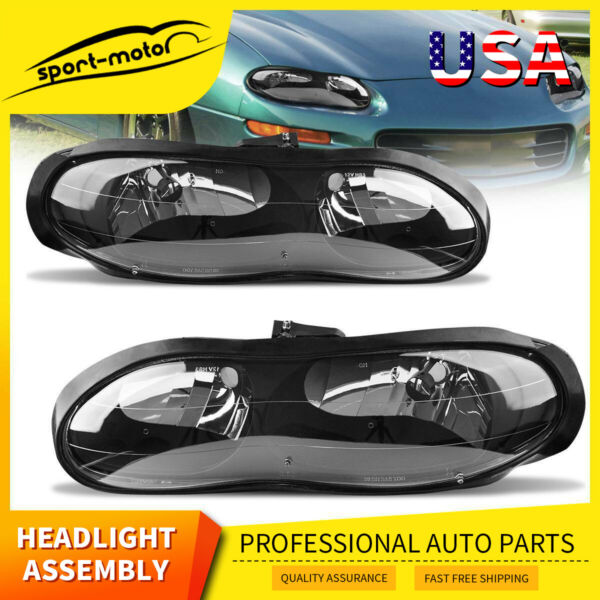 for 98-02 Chevy Camaro Z28 Front Driving Headlights Headlamps Assembly Kit Pair