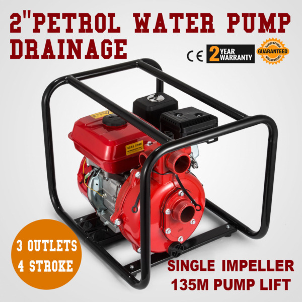 7.5HP 2quot;Gas Powered Water Pump 198GPM Water Transfer High Pressure Irrigation