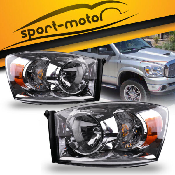 for 2006-2008 Dodge Ram 1500 2500 3500 Pickup Headlights Headlamps Assembly Pair