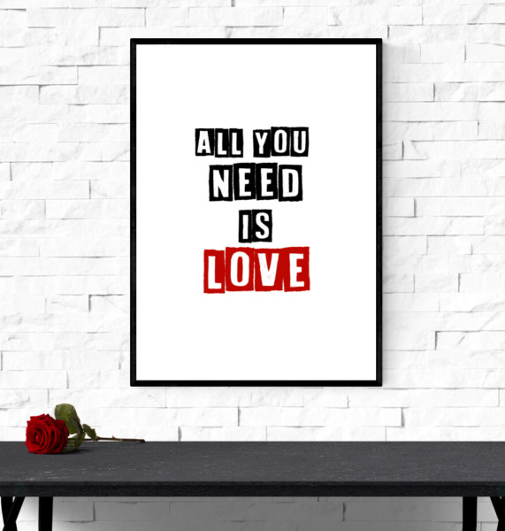 Beatles print - All you need is love - wall art lyric print - Minimalist Quote
