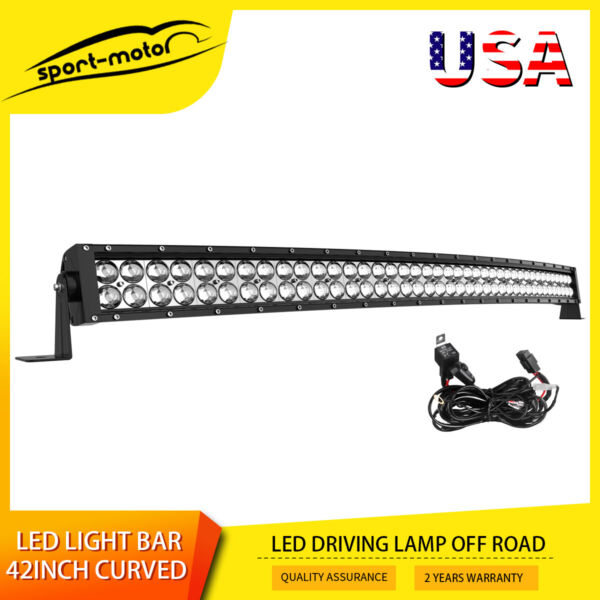 Curved 42inch Led Work Light Bar Spot Flood Combo Driving Lamp 40quot; 44quot; Harness