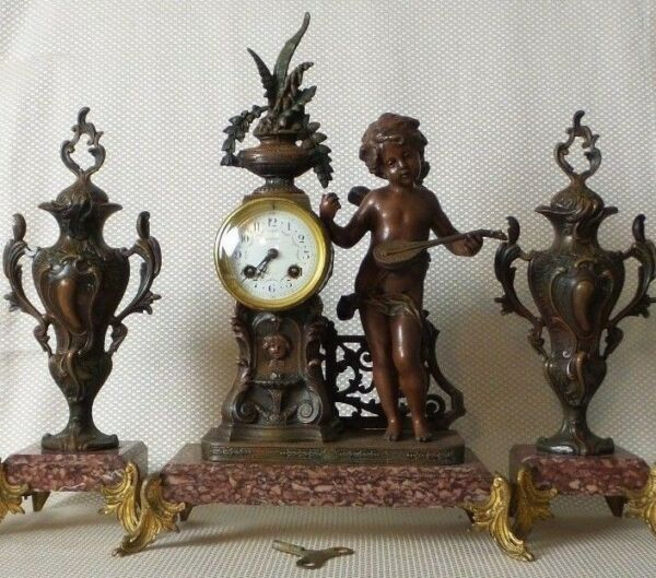 Antique French Empire Bronze Figurine & Red Marble Spelter Mantel Clock & Urns