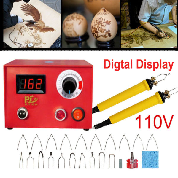 50W Adjustable Wood Burning Tool Pyrography Machine Dual Pen Craft Tools+20 Kits
