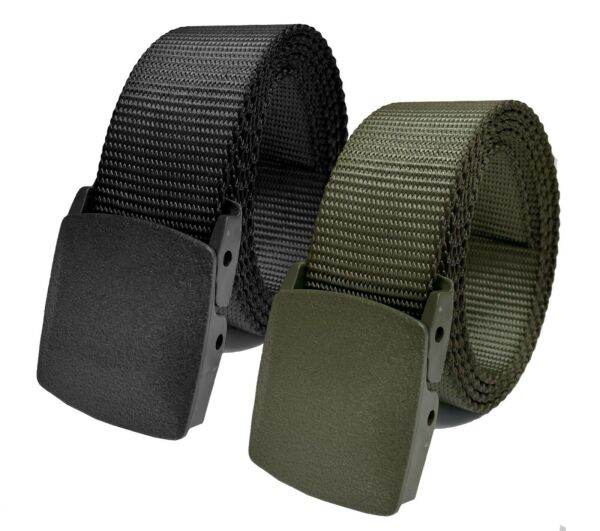 Men#x27;s Tactical Heavy Duty Elastic or Nylon Military Belt with Plastic Cam Buckle $9.99